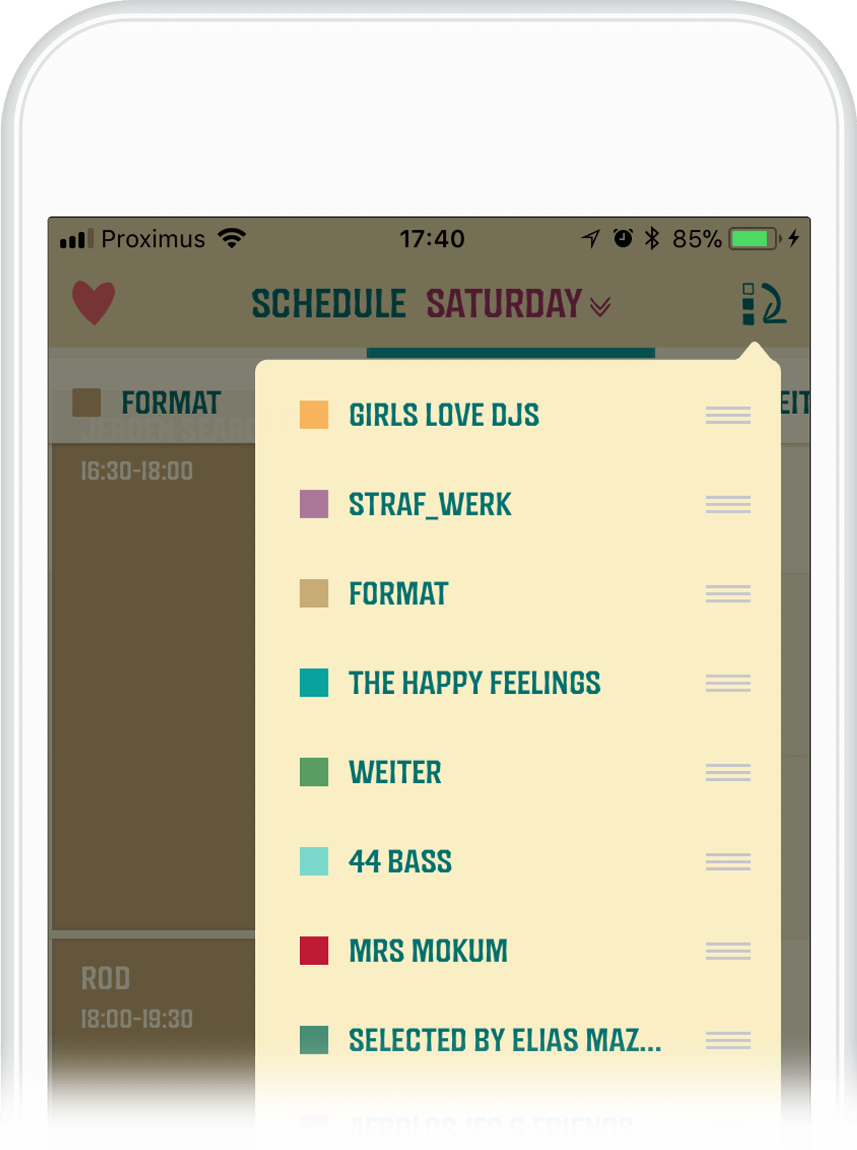 Users can select favourites to create their own personalized schedule and receive reminders before their favourite bands take the stage.